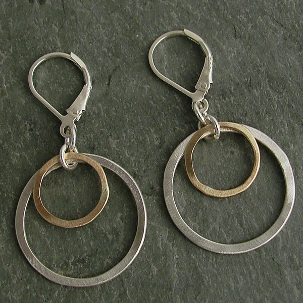 J & I Mixed Metal Double Hoops Earrings