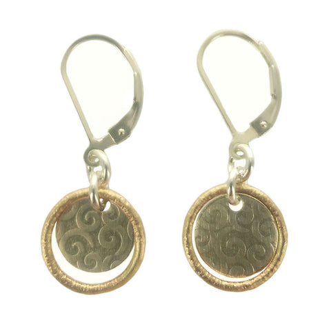 J & I Gold Encircled Silver Spiral Disc Earrings
