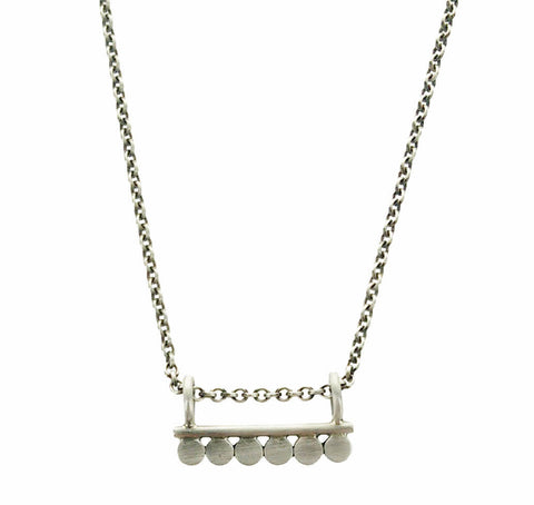 Jane Diaz Six Silver Circles Bar Pendant Necklace