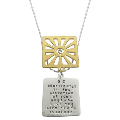 Kathy Bransfield Go Confidently Thoreau Quote Necklace