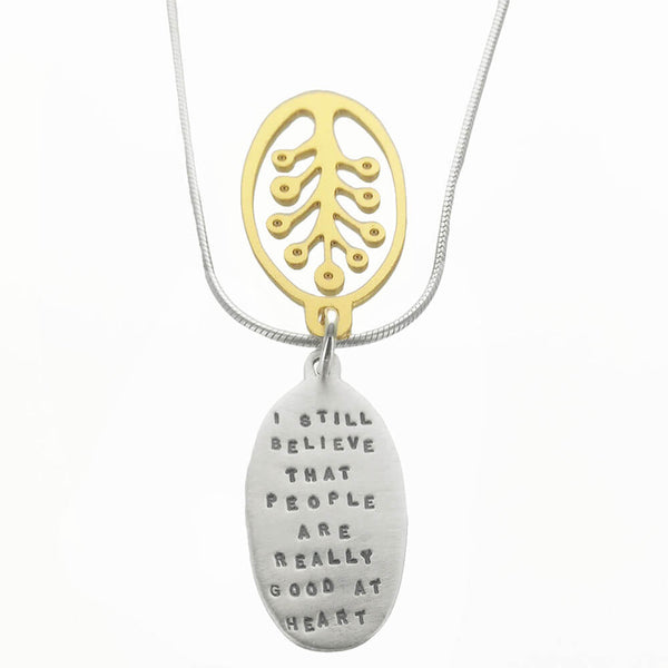 """Good At Heart"" Ann Frank Quote Necklace"