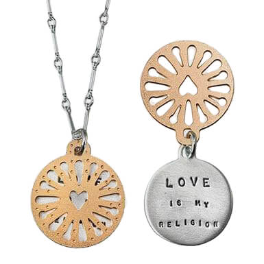 Kathy Bransfield Love Is My Religion Quote Necklace