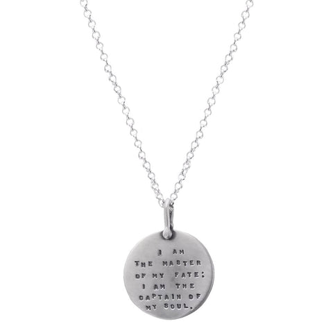 "Kathy Bransfield ""Master of my Fate"" Silver Quote Necklace"