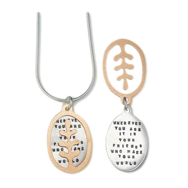 Kathy Bransfield Friends Make Your World Quote Necklace