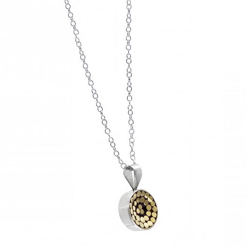 Kathy Kamei Be A Light Concave Reversable Disc Pendant Necklace Gold