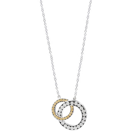 Kathy Kamei Be A Light Gold Silver Linked Hoop Necklace Reverse