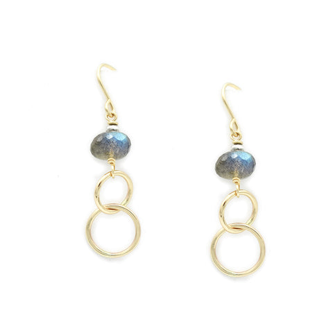 J & I Dreamy Labradorite Gold Hoops Waterfall Earrings