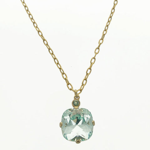 Faceted Aquamarine Crystal Necklace