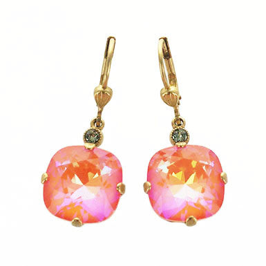 Faceted Coral Pink Crystal Earrings