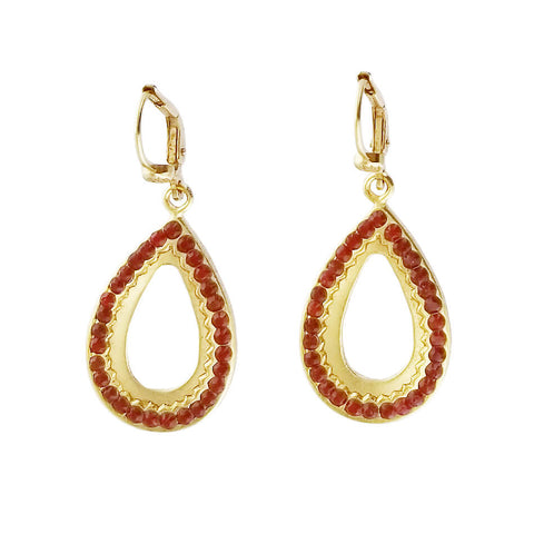 La Vie Parisianne Red Swarovski Crystal Teardrop Hoop Earrings