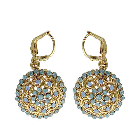 La Vie Parisienne Blue Filigree Medallion Earrings