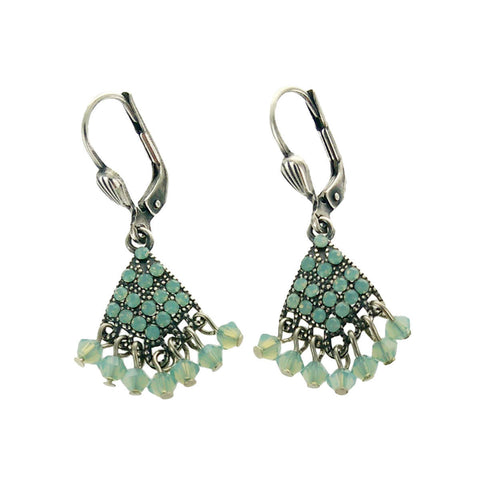 La Vie Parisianne Blue Green Crystal Fan Earrings