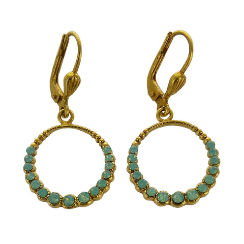 La Vie Parisianne Swarovski Green Crystal Hoop Earrings