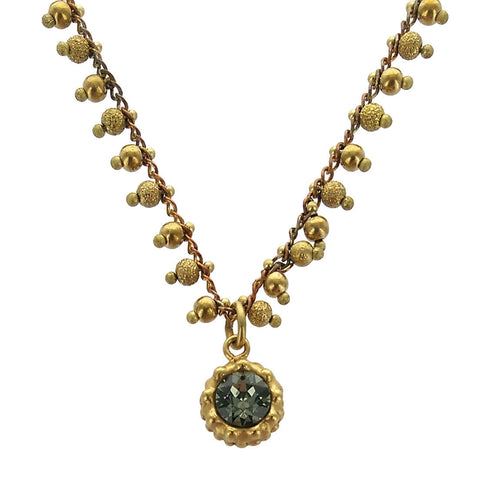 Petite Crystal Pendant Gold Bead Chain Necklace