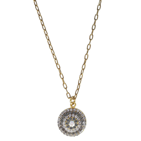 La Vie Parisienne Crystals Circle Pendant Gold Necklace