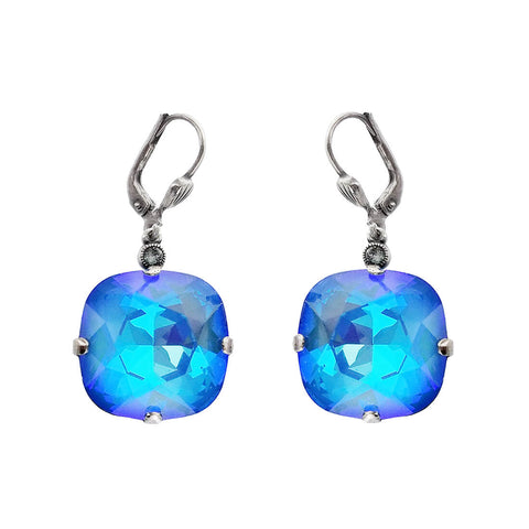 La Vie Parisienne Faceted Blue Rounded Square Crystal Earrings