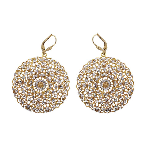 La Vie Parisienne Filigree Clear Crystal Gold Earrings