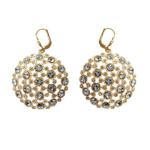 La Vie Parisienne Filigree Gold Medallion Crystal Earrings