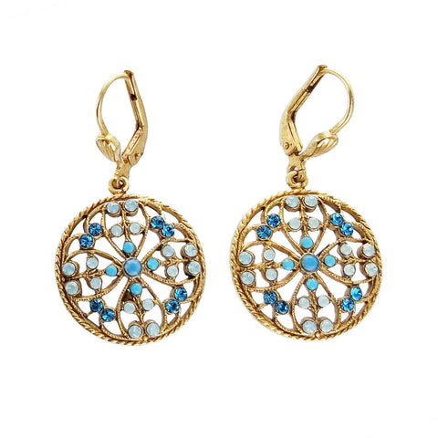 La Vie Parisienne Gold Blue Flower Earrings
