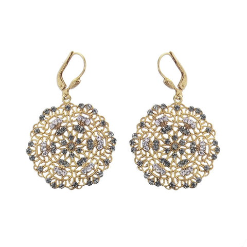 La Vie Parisienne Gold Filigree Crystal Earrings
