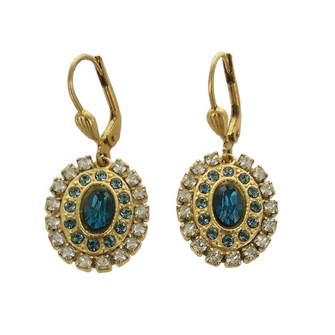 La Vie Parisienne Oval Swarovski Crystal Earrings