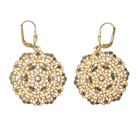 La Vie Parisienne Snowflake Filigree Pearl Crystal Earrings