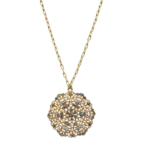 La Vie Parisienne Sparkling Filigree Flower Pendant Necklace