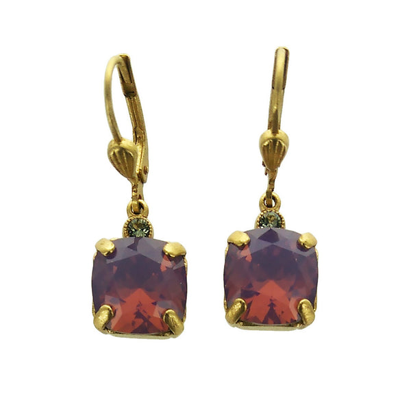 La Vie Parisienne Square Lavendar Swarovski Crystal Earrings