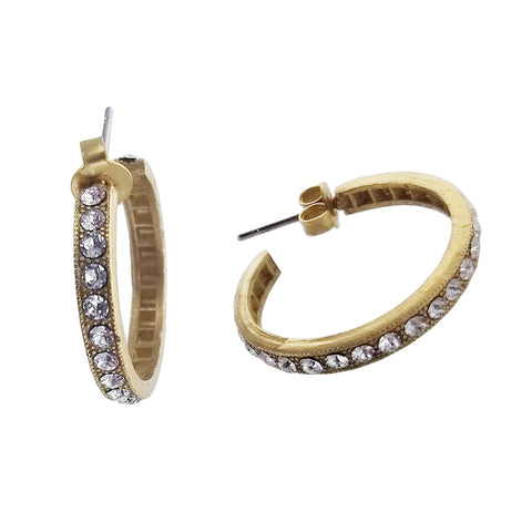 La Vie Parisienne Swarovski Crystals Gold Hoop Earrings