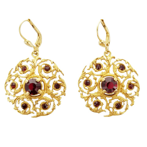 La Vie Red Crystal Filigree Swirl Earrings