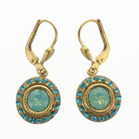 Petite Round Pacific Opal Crystal Earrings
