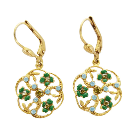 La Vie Swirling Enamel Floral Earrings
