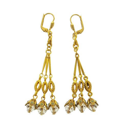 La Vie Triple Crystal Dangle Earrings