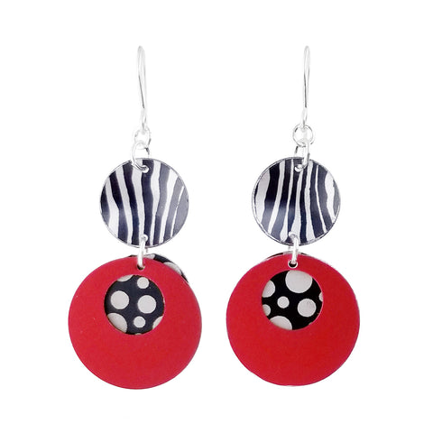 Lenel Designs Theresa Black And Red Drop Earrings