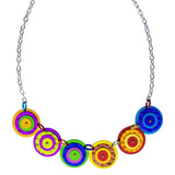 Lenel Designs Bold Colorful Layered Circles Necklace Closer View