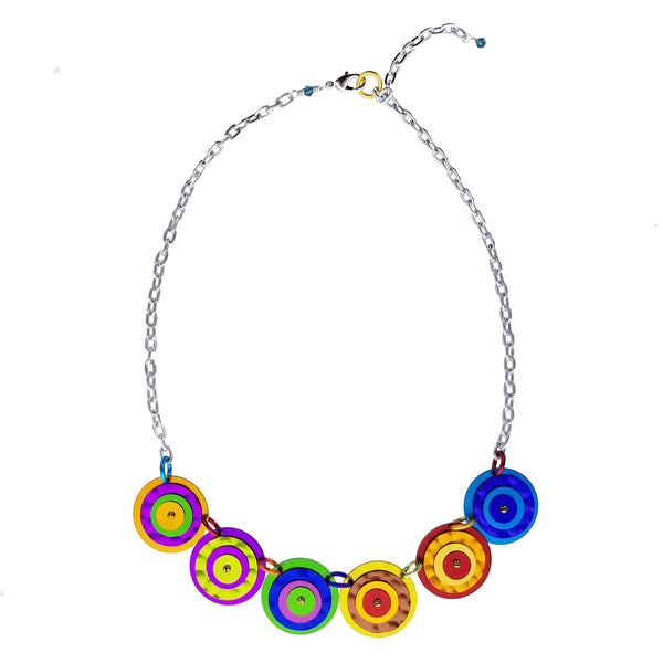 Lenel Designs Bold Colorful Layered Circles Necklace