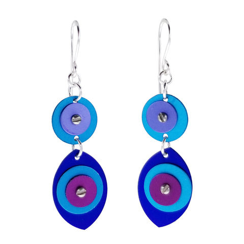 Lenel Designs Diana Blue Double Drop Earrings