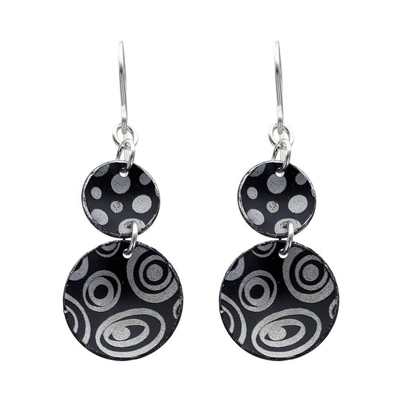Lenel Designs Lily Black White Double Drop Earrings