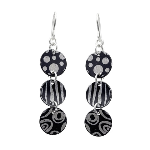 Lenel Designs Yvette Black White Triple Drop Earrings