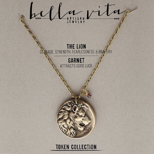 Lion Courage Strength Gold Pendant Necklace