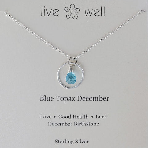 Live Well Blue Topaz December Birthstone Necklace Gift Card