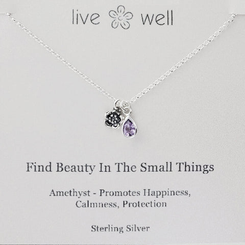 Live Well Find Beauty In The Small Things Necklace Gift Card