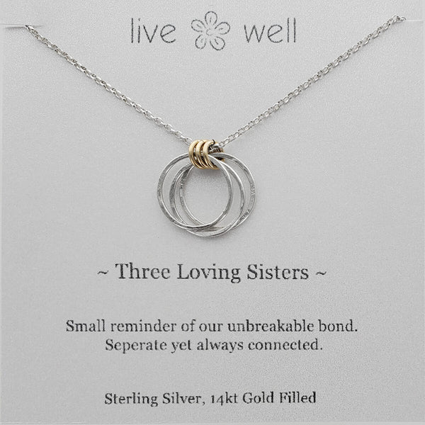 Live Well Three Loving Sisters Necklace Gift Card