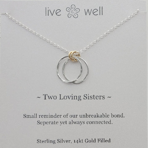 Live Well Two Loving Sisters Necklace Gift Card