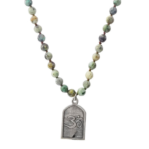 Lizou Buddha Turquoise Pendant Necklace Om Side