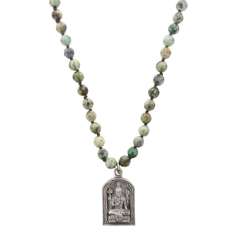 Lizou Buddha Silver Turquoise Necklace