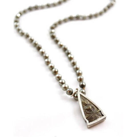 Lizou Triangle Buddha Pendant Hematite Necklace