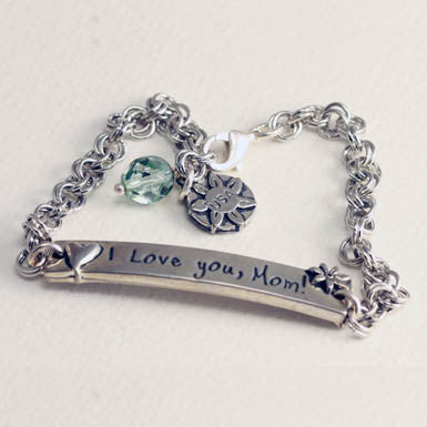 """I Love You Mom"" Inspirational Pewter Bracelet With Green Crystal"