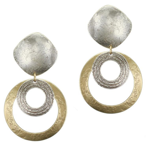 Marjorie Baer Large Rounded Diamond Layered Hoop Clip Earrings