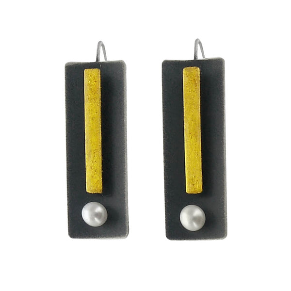 Mar Brushed Gold And Black Sterling Pearl Earrings